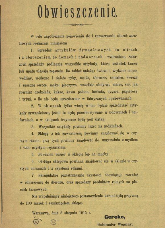 Obwieszczenie 1915