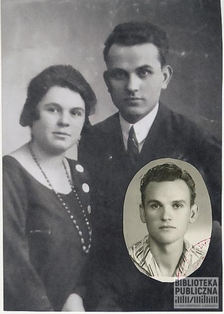 Fotomontaż zdjęcia ślubnego Wandy i Władysława Nowikowskich i zdjęcia legitymacyjnego ich syna Lecha.